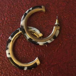Black, White, and Gold tone hoop earrings
